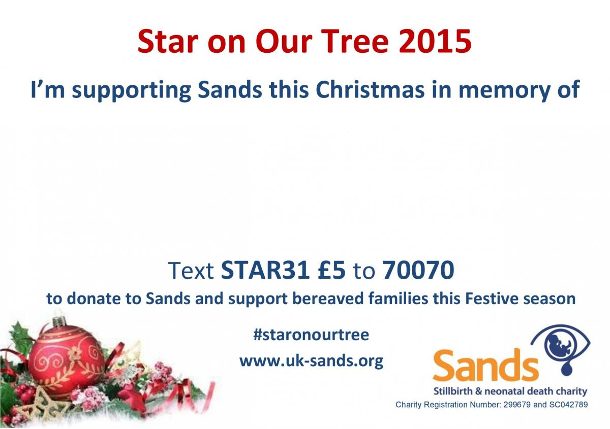 Star on our tree 2015, Sands Christmas Appeal