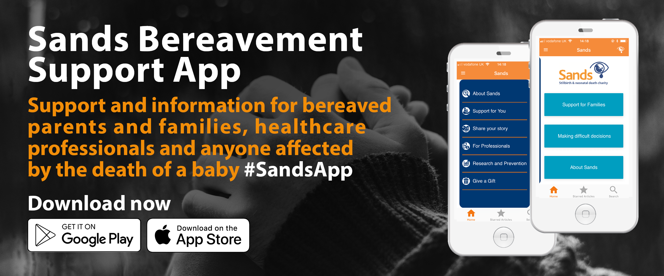 The email announcement banner for the Bereavement Support App