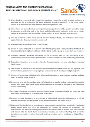 General Notes and Guidelines regarding Restrictions and Disbursements Policy image, Sands