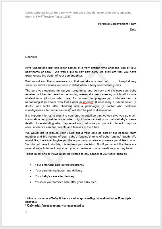Image of letter for parents