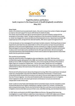 Rapid Resolution and Redress, Sands, response ,Department of Health, England, consultation