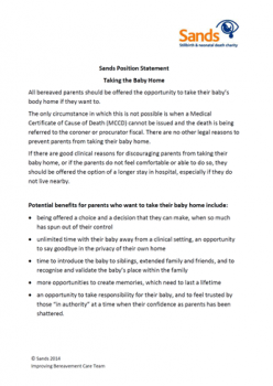 Sands position statement, taking the baby home, stillbirth, neonatal death