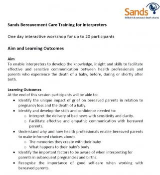 Aim, Learning Outcomes and Session Plan - Sands Training for Interpreters