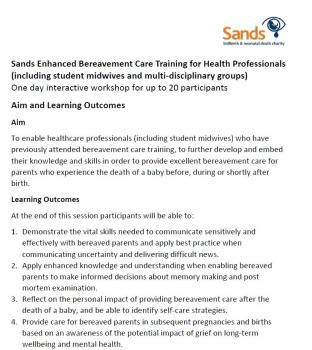 Sands Enhanced Bereavement Care Training for Health Professionals - Aim, Learning Outcomes and Session Plan