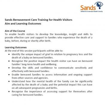 Aim, Learning Outcomes and Session Plan - Sands Training for Health Visitors