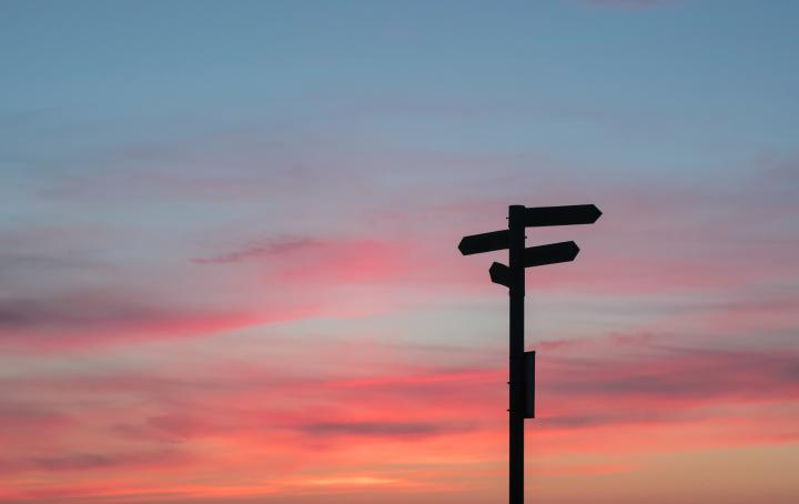 Signpost in sunset by Javier Allegue Barros